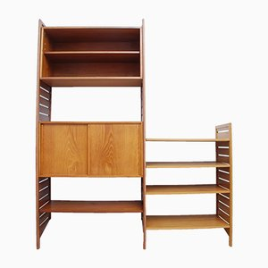 British Teak Ladderax 2-Bay Modular Shelving Unit with Cabinets by Robert Heal for Staples Cricklewood, 1960s, Set of 10