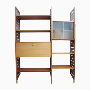 Teak Ladderax 2-Bay Modular Shelving Unit with Drop Down Desk by Robert Heritage for Staples Cricklewood, 1960s, Set of 10