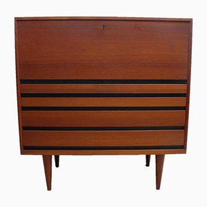 Mid Century Scandinavian Teak Bureau with Drop Down Door Desk, 1960s