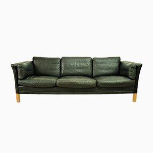 Mid-Century Modern Danish Black Leather Sofa, 1960s