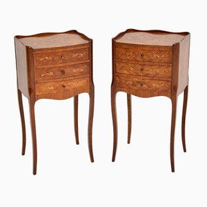 Vintage French Inlaid Marquetry Bedside Tables, Set of 2