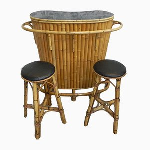Vintage Tiki Bamboo and Rattan Cocktail Bar & Stools, 1950s, Set of 3