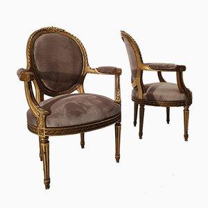 Fauteuils Louis XVI en Bois Doré et Dossier Médaillon, 19ème Siècle, Set de 2