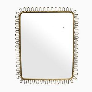Mid-Century Brass Wall Mirror in Loop Design by Josef Frank, 1950s