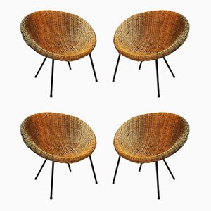 Mid-Century Wicker Lounge Chairs, Set of 4