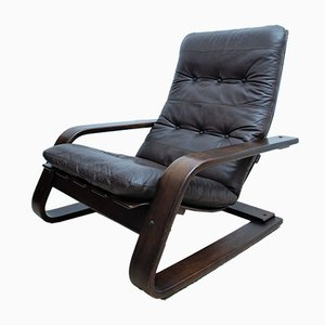 Mid-Century Scandinavian Style Leather & Bentwood Cantilevered Armchair, 1970s