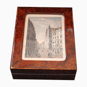 Antique Wooden Sash Box with Copperplate