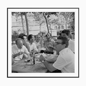 Lunch with Paul Newman Archival Pigment Print Framed in Black