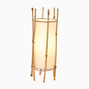 Französische Mid-Century Tischlampe aus Bambus & Baumwolle von Louis Sognot, 1960er