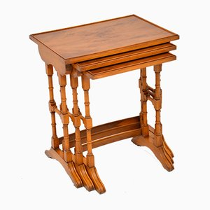 Georgian Style Yew Wood Nesting Tables, 1950s