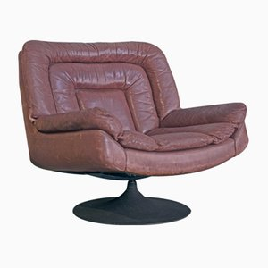 Brutalist Swivel Chair in Leather and Metal, 1970s