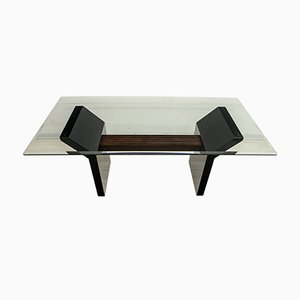 Italian Modern Black Lacquered & Burr Walnut Dining Table, 1980s