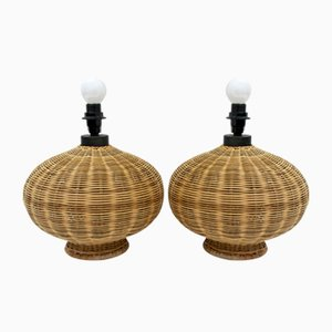 Mid-Century Modern Italian Wicker Table Lamps, 1970s, Set of 2