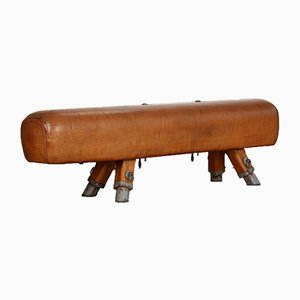 Vintage Leather Pommel Gymnastics Horse Bench, 1930s