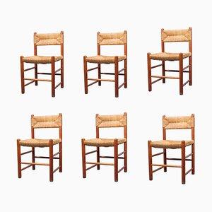 Chaises de Salon Style Rush en Bois de Pin et en Forme de Jonc, 1950s, Set de 6