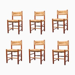 Pine Wood and Rush Shaker Style Dining Chairs, 1950s, Set of 6