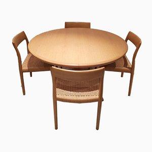 Set Table et Chaises Vintage par Niels Otto Møller pour JL Møllers, Set de 5