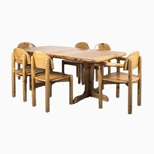 Dänischer Esstisch & Stühle im Stil von Rainer Daumiller, 1970er, 7er Set