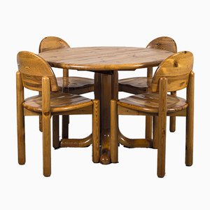 Esstisch & Stühle im Stil von Rainer Daumiller, 1970er, 5er Set