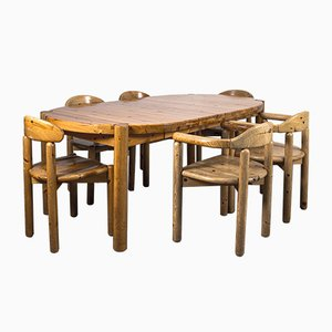 Juego de mesa y sillas de comedor de The Style of Rainer Daumiller, años 70. Juego de 7