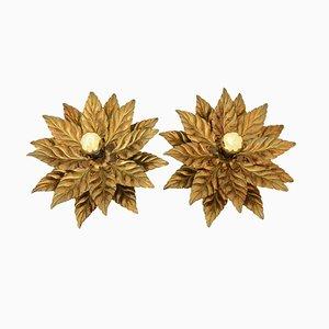 Italienische Vintage Hollywood Regency Blumen Decken- oder Wandlampe, 2er Set
