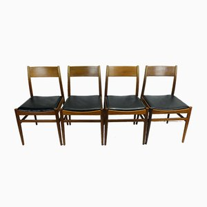 Mid-Century Mahogany and Black Leatherette Dining Chairs, 1960s, Set of 4