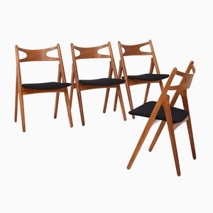 Mid-Century CH29 Sawbuck Chairs by Hans J. Wegner for Carl Hansen & Søn, 1950s, Set of 4