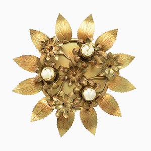Vintage Hollywood Regency Deckenlampe in Blumen-Optik von Honsel