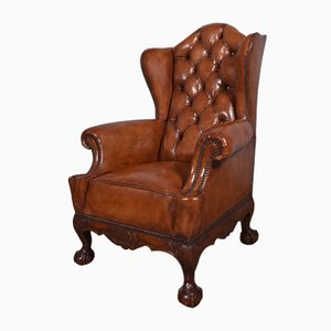 Large Antique Deep Buttoned Leather Wing Chair