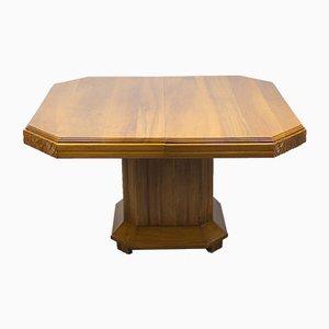 Tavolo da pranzo Art Deco in legno di noce massiccio, anni '20