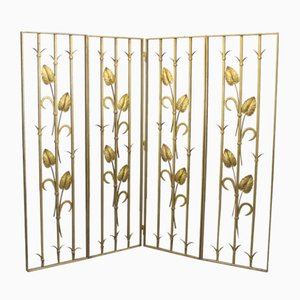 Vintage Golden Iron 4-Leaf Screen, 1960s