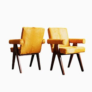 Teak Senat Armchairs by Pierre Jeanneret, Set of 2