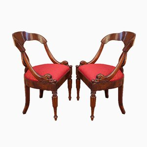 19th Century Italian Charles X Armchairs, Set of 2