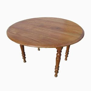 Antique Cherry Round Dining Table with Flaps, 1900s