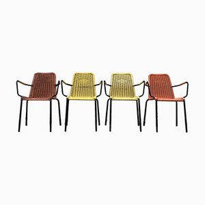 Mid-Century Woven Plastic Chairs, Set of 4