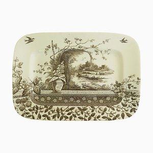 Plato de carne chinoiserie inglés antiguo, 1910