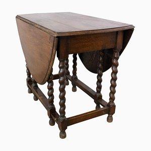 Table Gatelegale Antique en Chêne à Abattants et Feuille d'Orge avec Dessus Ovale, Angleterre