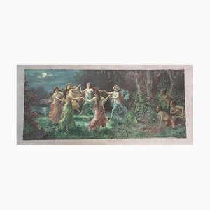 Late-19th Century Chromolithograph Fairies Dance by Zabateri