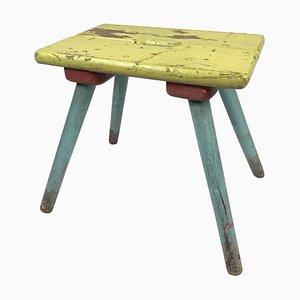 Industrieller Vintage Holzhocker mit Originalfarbe, 1930er