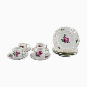 Servizio da caffè Meissen antico in porcellana dipinta a mano, set di 12