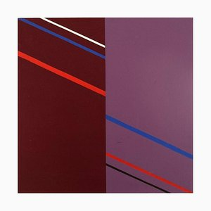 Composition Abstraite Huile sur Toile par Lennart Kärrabo, Sweden, 1982