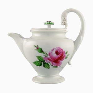 Antique Meissen Teapot in Hand-Painted Porcelain with Pink Roses