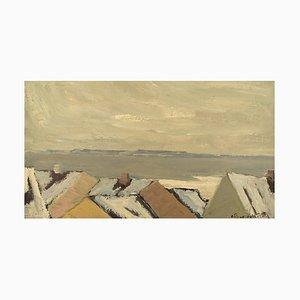 Modernist Landscape Oil on Canvas by Carl Berndtsson, Sweden, 1960s