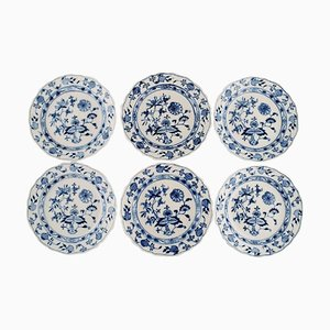 Antique Meissen Blue Onion Lunch Plates in Hand-Painted Porcelain, Set of 6