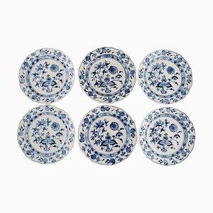 Platos de almuerzo antiguos de cebolla Meissen en azul de porcelana pintada a mano. Juego de 6