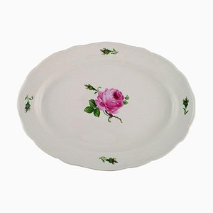 Antique Meissen Serving Dish in Hand-Painted Porcelain with Pink Roses