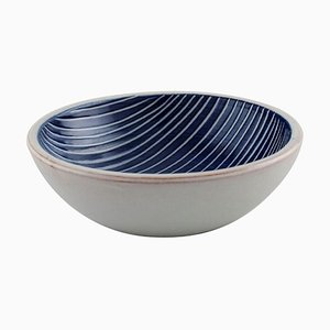 Bowl in Glazed Stoneware with Striped Design by Ingrid Atterberg for Upsala Ekeby, 1940s
