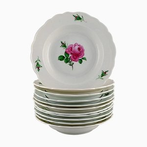 Antique Meissen Soup Plates in Hand-Painted Porcelain with Pink Roses, Set of 11