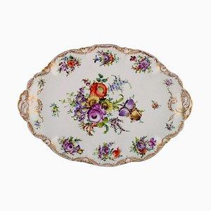 Piatto da portata Dresden grande in porcellana dipinta a mano con motivi floreali