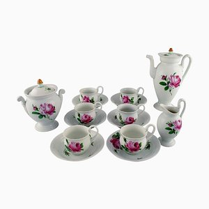 Antique Meissen Coffee Service in Hand-Painted Porcelain, Set of 15
